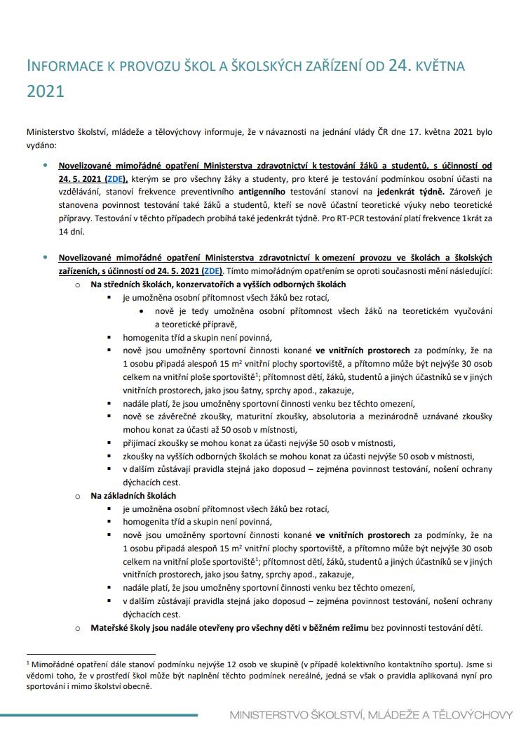 INFORMACE K PROVOZU ŠKOL OD 24.05.2021